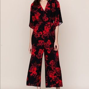 High Voltage Jumpsuit red and Black Floral NWT